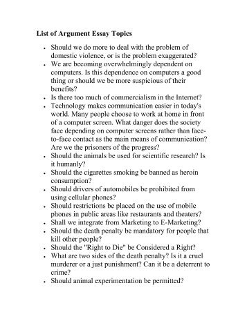List of Argument Essay Topics - Suffolk Public Schools Blog