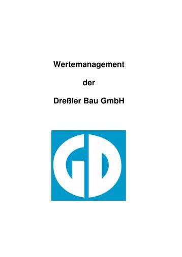 Deckblatt Wertemanagement - Dreßler-Bau