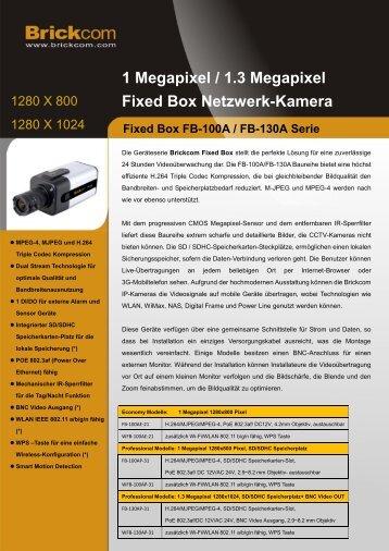 1 Megapixel / 1.3 Megapixel Fixed Box Netzwerk-Kamera