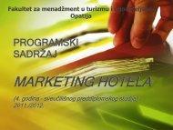 marketing hotela - LUMENS - Fakultet za menadžment u turizmu i ...