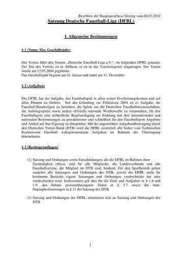 Satzung der DFBL - Deutsche Faustball-Liga eV