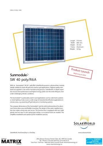 SW Modules: SW40, SW80, SW120 Poly R6A - Matrix Energy