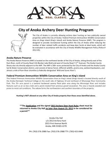 City of Anoka Archery Deer Hunting Program