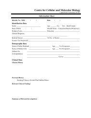 Case information sheet - CCMB