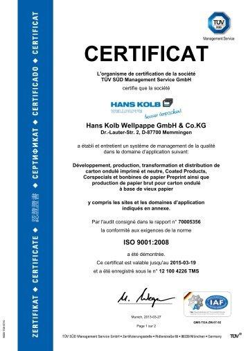 EN ISO 9001 - Hans Kolb Wellpappe GmbH & Co