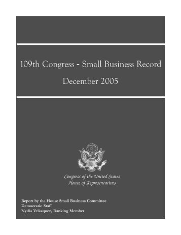 109th Congress - Small Business Record - Government Executive