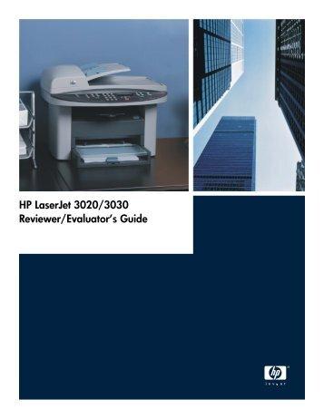 HP LaserJet 3020/3030 Reviewer/Evaluator's Guide - Alsys Data