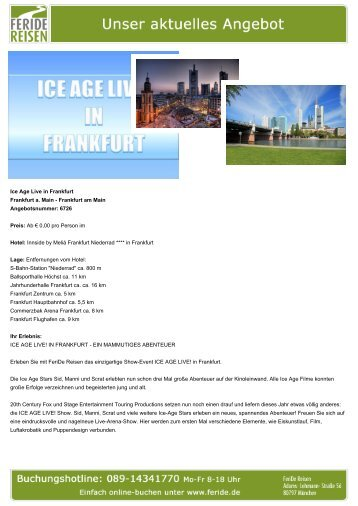 Ice Age Live in Frankfurt - Eventreisen - Trierischer Volksfreund