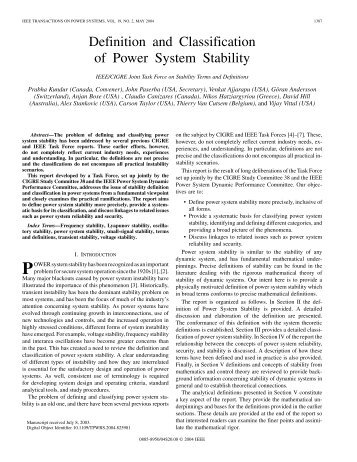 Definition and Classification of Power System Stability - IEEE Xplore