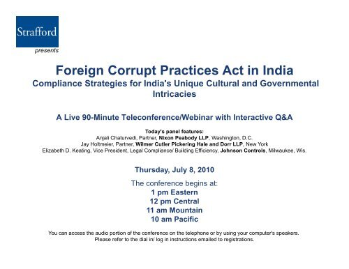 Foreign Corrupt Practices Act In India Strafford