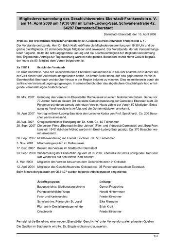 Protokoll der Jahreshauptversammlung 2008 - Geschichtsverein ...