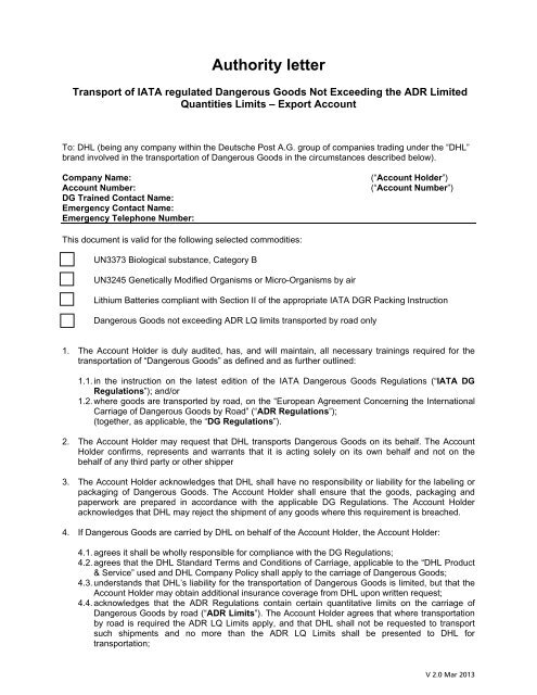 Approval Authority Letter for UN3373 EXPORT - DHL