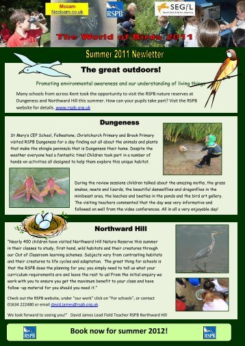 World of Birds July 2011 Teacher's Newsletter - SEGfL Microsites 2 ...