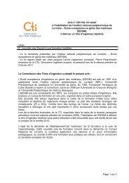 Avis INPL - EEIGM - Commission des Titres d'Ingénieur