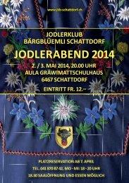 Jodlerklub Bärgblüemli, Jodlerabend 2./3. Mai 2014