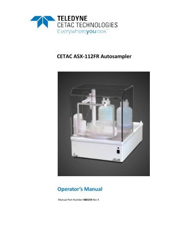 ASX-112FR Operator's Manual - CETAC Technologies