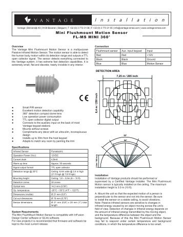 Datasheet for Mini Flushmount Motion Sensor