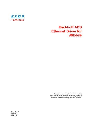 Beckhoff ADS Ethernet Driver for JMobile