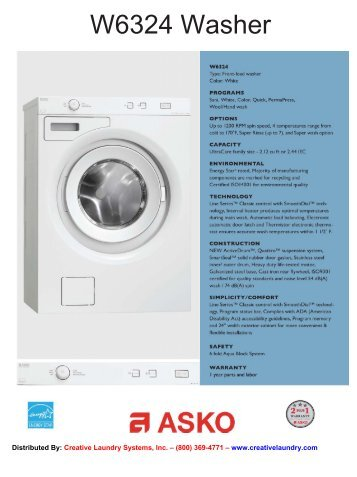 W6324 Washer - Creative Laundry Systems