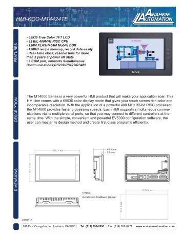 HMI-KCO-MT4424TE Spec Sheet.pdf - Anaheim Automation