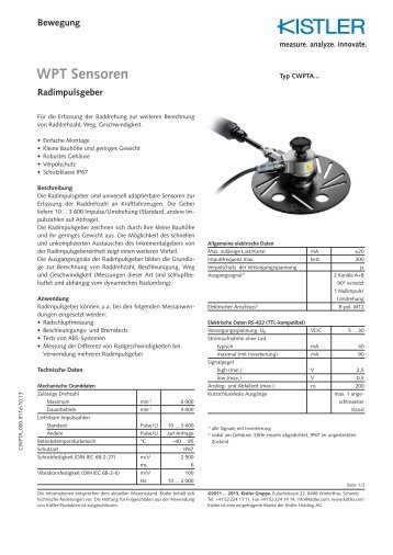Datenblatt, Typ WPTA... - Corrsys-Datron