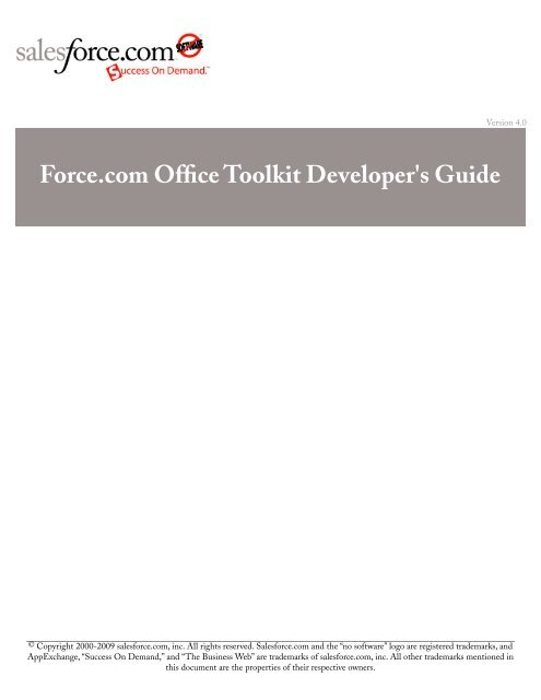 Force com Office Toolkit Developer's Guide - Salesforce com