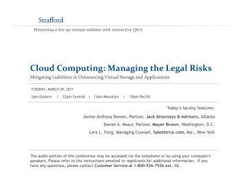 Cloud Computing: Managing the Legal Risks - Strafford