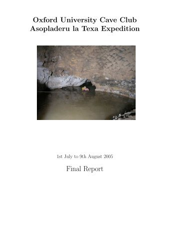 Expedition final report - Oxford University Cave Club