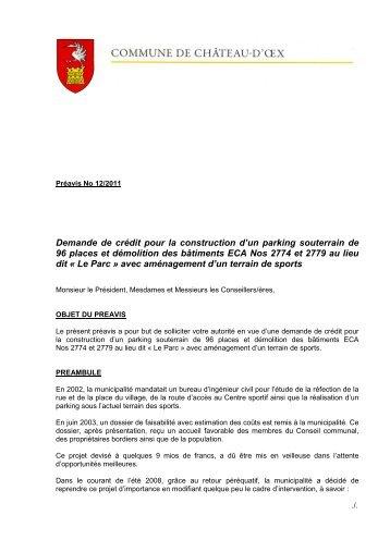 Préavis 12-2011 - Demande crédit construction ... - Château-d'Oex