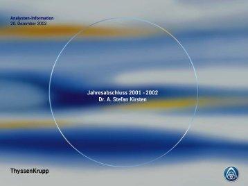 Analysten-Information 20. Dezember 2002