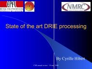 State of the art DRIE processing - CMI