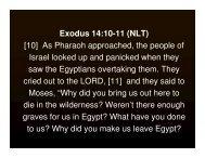 Exodus 14:10-11 (NLT) [10] As Pharaoh ... - Community Spice