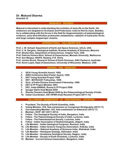 Dr  Mukund Sharma - Birbal Sahni Institute of Palaeobotany
