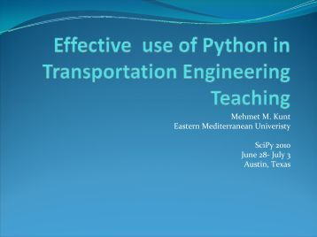 Effective use of Python in Transportation Engineering Teaching