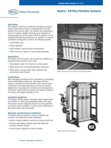 Septra™ CB Plus Filtration Systems - Pall Corporation (PLL)