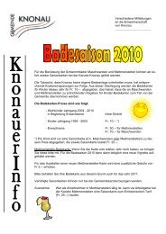 Verschiedene Mitteilungen an die Einwohnerschaft von Knonau Für ...