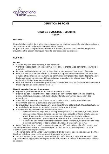 Definition De Poste Charge D Accueil â Securite Opã Ra