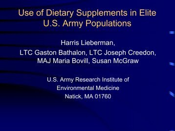 Use of Dietary Supplements in Elite U.S. Army Populations