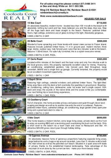 cc realty brochure - Rainbow Beach Real Estate