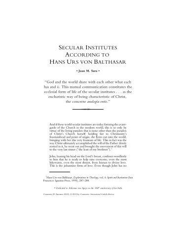 Secular Institutes According to Hans Urs von Balthasar - Communio