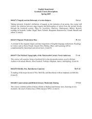 English Department Graduate Course Descriptions Spring 2009 ...