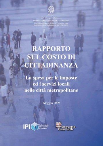 Rapporto 2007 sul Costo della cittadinanza nelle città Metropolitane