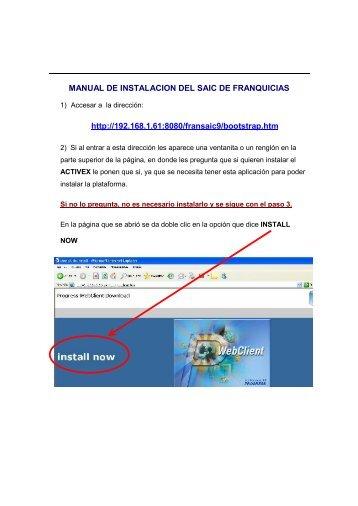 MANUAL DE INSTALACION DEL SAIC DE FRANQUICIAS http ...