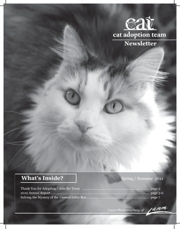 Spring 2011 and 2010 Annual Report (pdf) - Cat Adoption Team