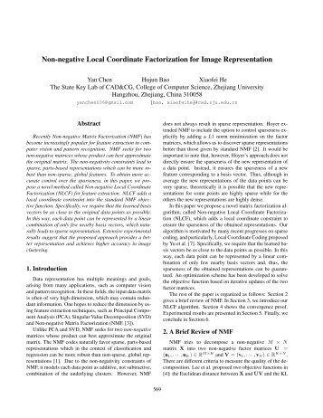 Non-negative Local Coordinate Factorization for Image ... - People