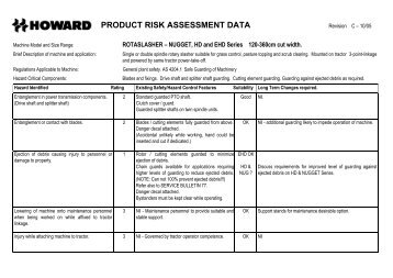 PRODUCT RISK ASSESSMENT DATA Revision A - 12/95