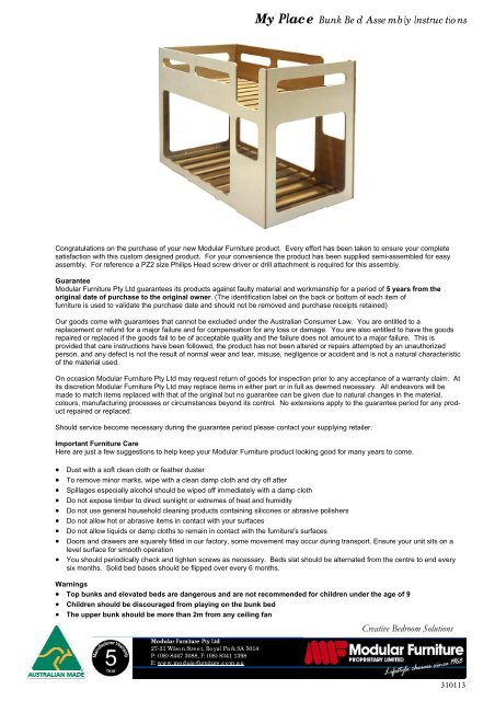 My Place Bunk Bed Assembly Instructions Modular Furniture
