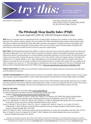 Pittsburgh sleep quality index
