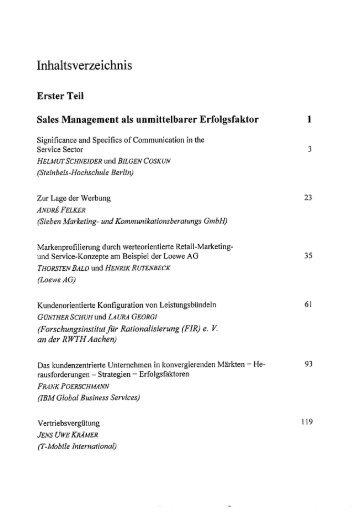Inhaltsverzeichnis - Springer VS