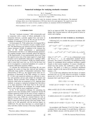 Numerical technique for studying stochastic resonance - APS Link ...